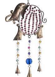 Fair Trade Gift of the Week - Elephant iron windchime with mixed glass beads