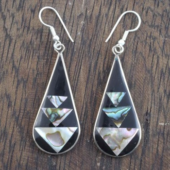 Doncia Black Shell Earrings