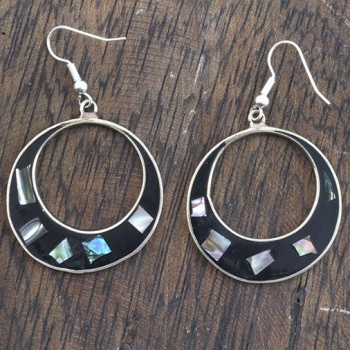 Elena Black Shell Earrings
