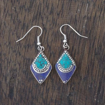 Blue Diamond Nepalese Earrings