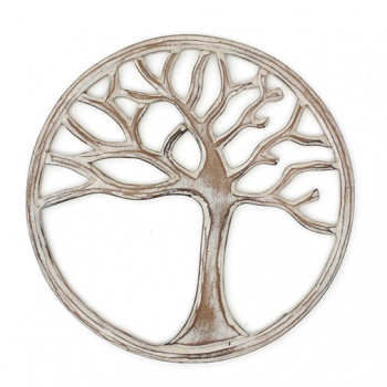 White Wooden Tree of Life Plaque