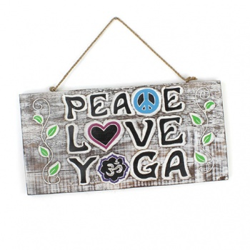 Peace, Love, Yoga Plaque