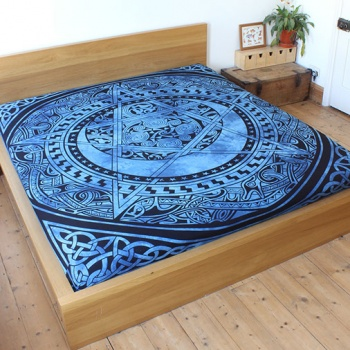 Blue Celtic Pentacle Bedspread