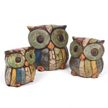 Set of 3 Rustic Owl Carvings