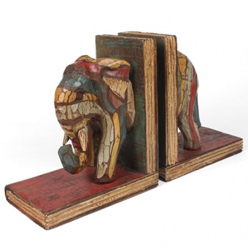 Rustic Wooden Elephant Bookends