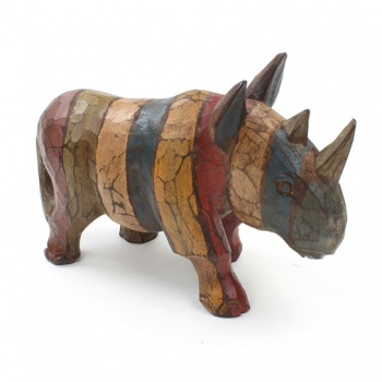 Rustic Rhino Wood Carving