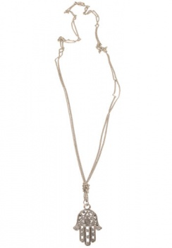 Necklace Long Silver Coloured Chain Hamsa Hand
