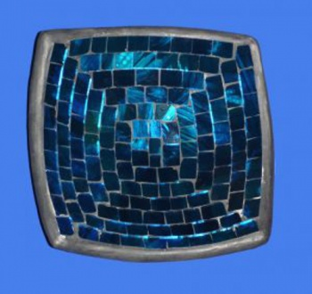 Mosaic Square Bowl 15cm - Metallic Blue