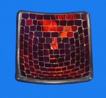 Mosaic Square Bowl 15cm - Metallic Red