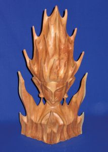 Wooden Flame Meditation Carving