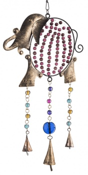 Elephant iron windchime with mixed glass beads