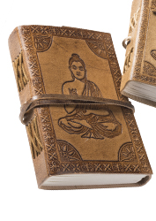 Large Buddha Embossed Leather Notebook