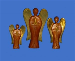 Fairtrade Dark Wooden Angel Gold Wings - 15cm