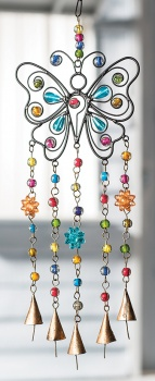 Butterfly Wind Chime with Mixed Beads and Conical Bells Fair Trade