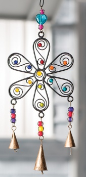 Stunning Flower Wind Chime Handmade with Iron, Mixed Ornament Beads and Bells