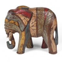 Rustic Elephant Wood Carving
