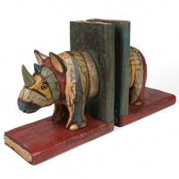 Rustic Wooden Rhino Bookends