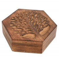 Box mango wood tree of life hexagonal