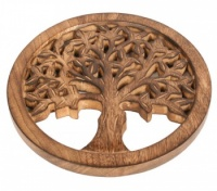 Trivet mango wood tree of life 20cm