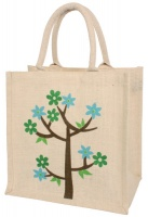 White Tree of Life Jute Shopping Bag