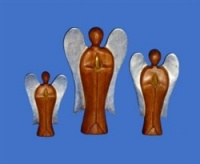 Fairtrade Dark Wooden Angel Silver Wings - 15cm