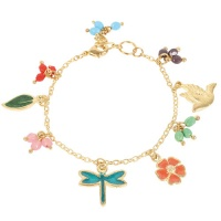 Bracelet with Enamelled Charms Bird Dragonfly