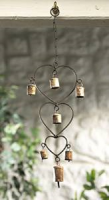 Recycled Iron Wind chime with Hearts and Bells